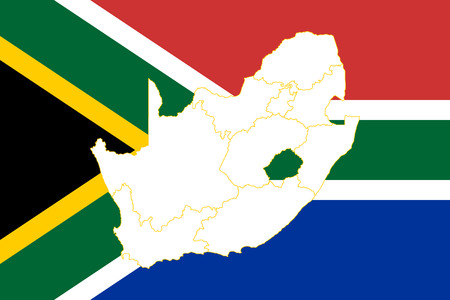 Map and flag of South Africa. Vector illustration. World map Illustration