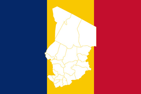 Map and flag of Chad. Vector illustration. World map