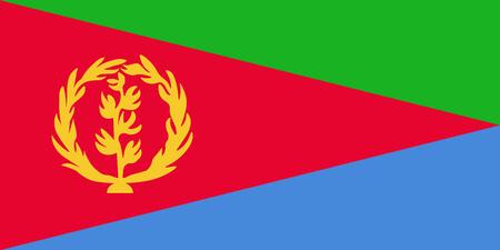 Flag of Eritrea Vector illustration of World map