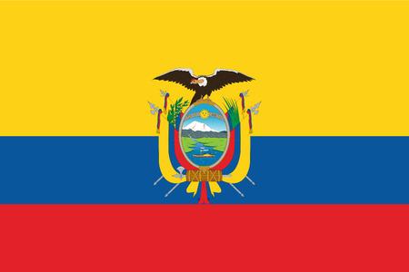 エクアドルの国旗。ベクトルイラスト。世界の旗