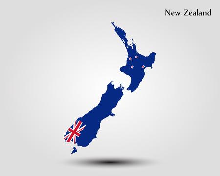 ニュージーランド地図。ベクトルイラスト。世界地図