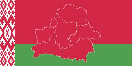 Map and flag of Belarus. Vector illustration. World map. 向量圖像