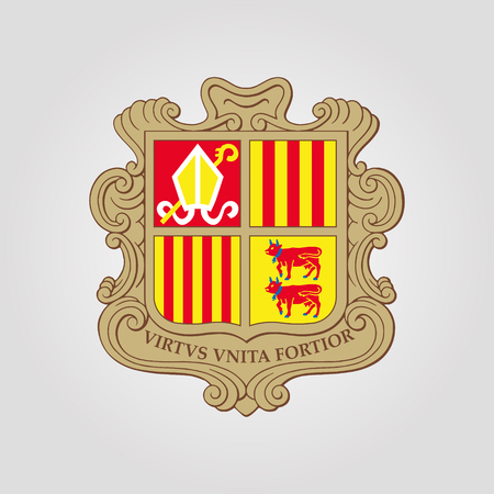 The Coat of Arms of Andorra. Vector illustration Illustration