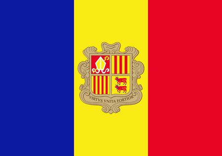 Flag of Andorra. Vector illustration. World flag Vetores