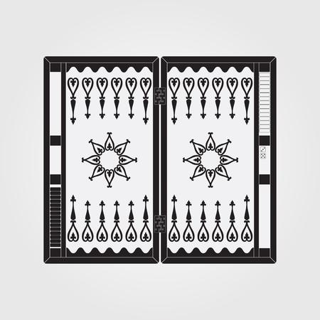 Backgammon on the wooden box. Vector illustration.