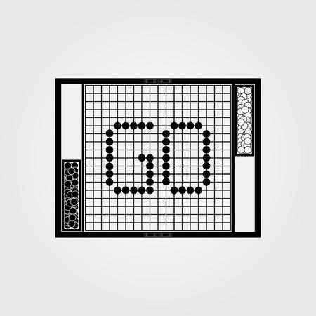 vector cartoon igo, go game, go board, yunzi, bowl, traditional chinese strategy board game