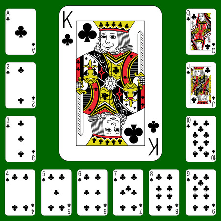 Playing cards suit clubs Cross on a green background.