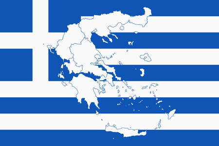 Map and flag of Greece. Vector illustration. World map