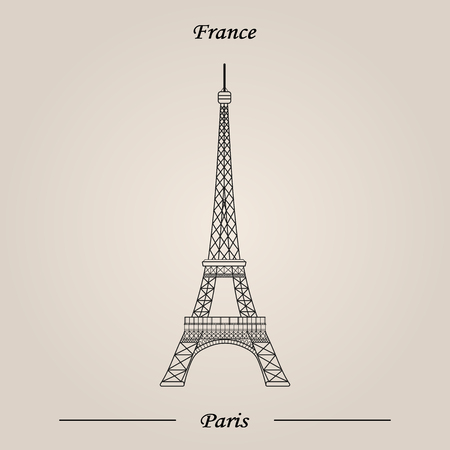 Eiffel Tower Paris France, Vector illustration, World Attractions Illustration