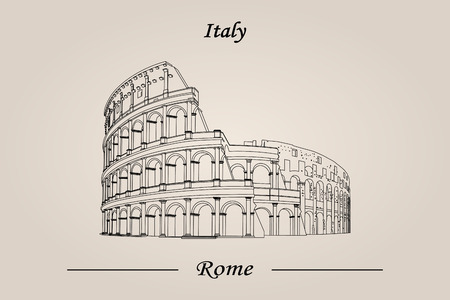Colosseum in Rome, Italy. vector illustration isolated. World Attractions Illustration