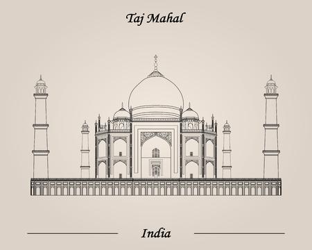 Taj Mahal, India, Vector illustration World Attractions