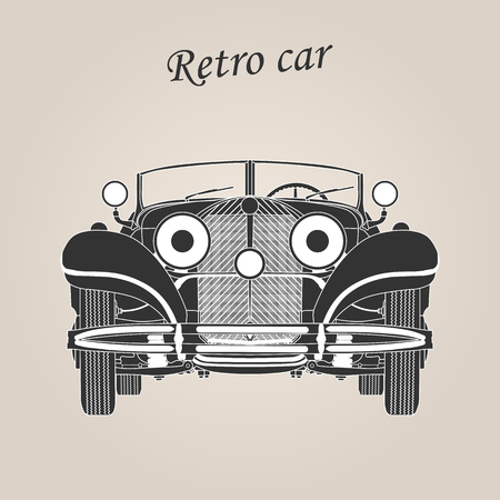 Vintage car. Retro car. Classic car Illustration