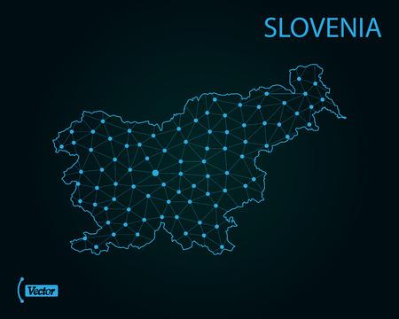 Map of Slovenia. Vector illustration