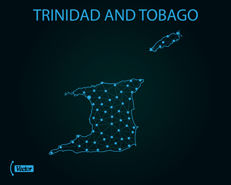 Map of Trinidad and Tobago. Vector illustration
