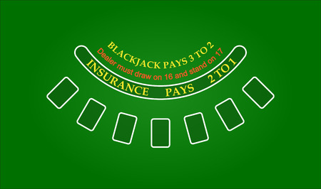 Black jack table, vector illustration