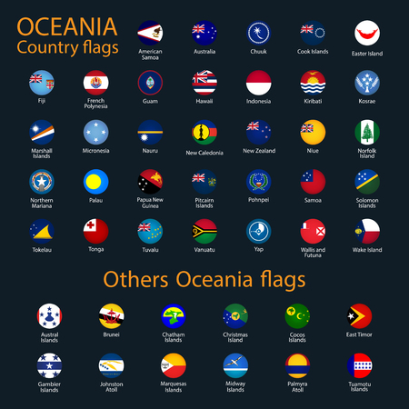 Flags of Oceania, all countries in original colors Illustration
