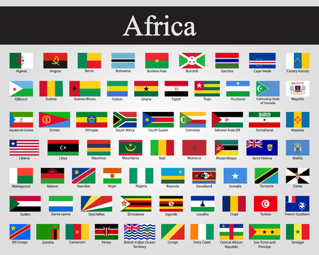 All flags of Africa. Vector illustration