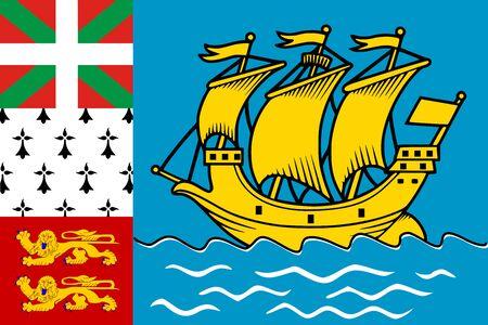 Bandera de San Pedro y Miquelón. Ilustración vectorial