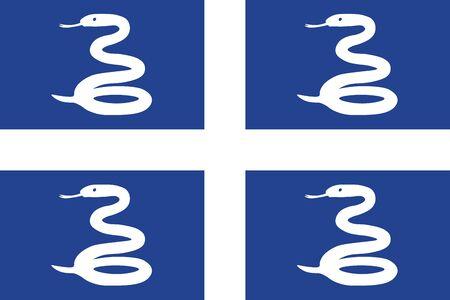 Snake Flag of Martinique. Vector illustration
