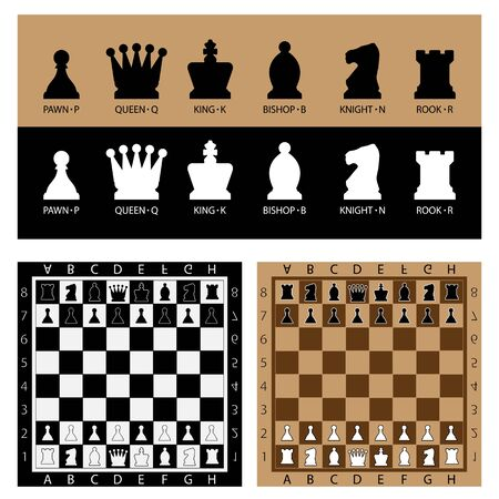 Chess Table online game app concept, strategy game Vector