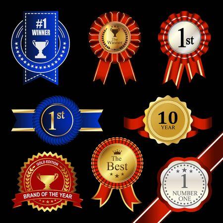 Seal Ribbon Rosette Badge Vintage Trophy Medal Winner Tag Emblem Label Banner Warranty Guarantee 矢量图像