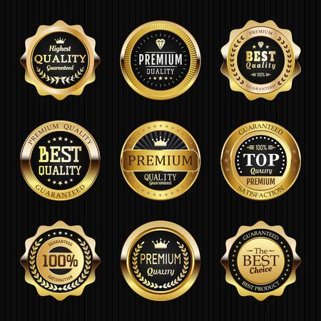 Collection of black top quality badges