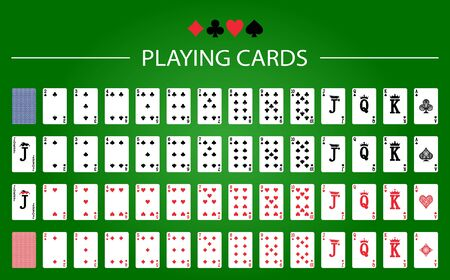 Poker set with isolated cards on green background 矢量图像