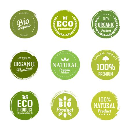 Sign label,textured emblem set. Organic design template. Green eco food label.