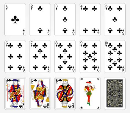 Playing cards of Clubs suit on a white background. Vector illustration. Original design. Vettoriali
