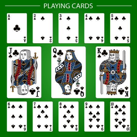 Playing cards of Clubs suit on a green background. Vector illustration. Original design.