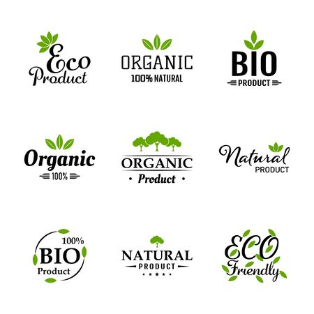 Natural ingredients eco green labels and stickers. Vector Illustration. Natural, Organic, Bio, Design Collection - A set green colored Designs on light background.