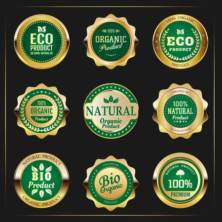 Gold emblems eco products. Collection of green top quality badges with gold border