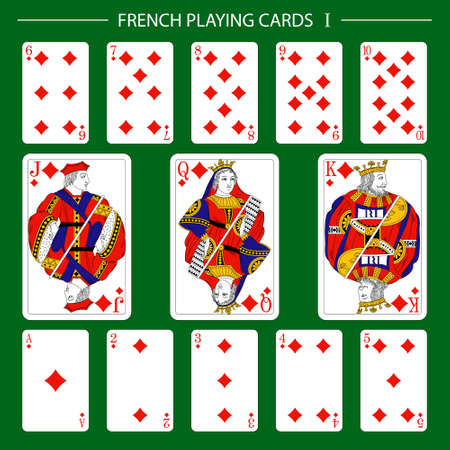 French playing cards suit diamonds 矢量图像