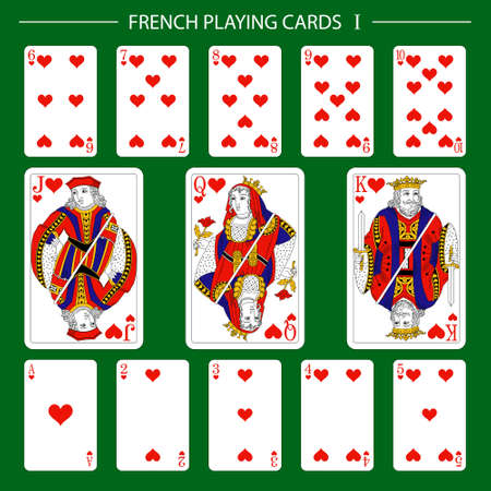 French playing cards suit hearts