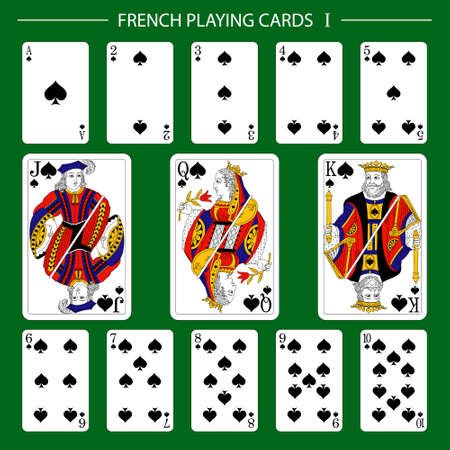 French playing cards suit spades 矢量图像