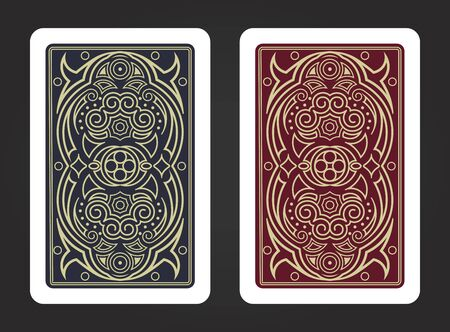 The reverse side of a playing card