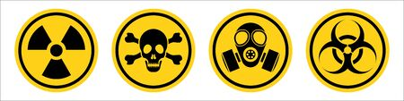 Danger warning yellow sign. Radiation sign, Gas mask, Toxic sign and Bio hazard. Vector icon isolated on white background