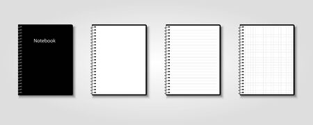 Creative vector illustration of realistic notebooks lined and dots paper page isolated on transparent background.