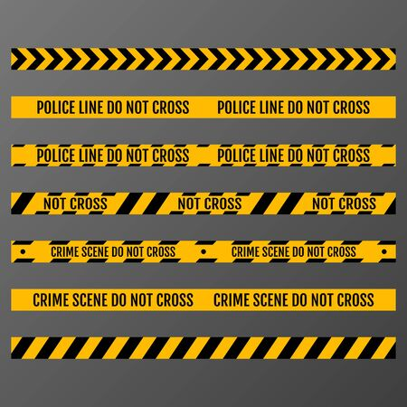 Vector set of Danger and Police Tape Lines for restriction and dangerous zones. 矢量图像