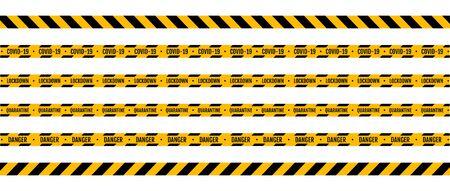 Warning coronavirus quarantine yellow and black stripes