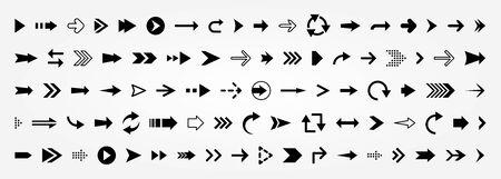 Arrow vector collection. Arrows big black set icons. 矢量图像