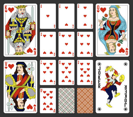 Hearts suite design for a pack of traditional style playing cards Illustration