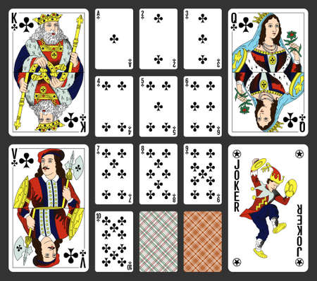 Clubs suite design for a pack of traditional style playing cards Illustration