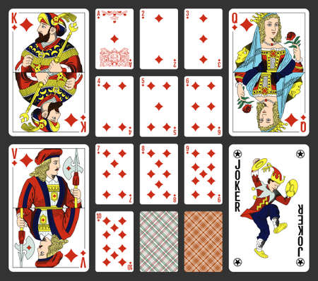 Diamonds suite design for a pack of traditional style playing cards Illustration