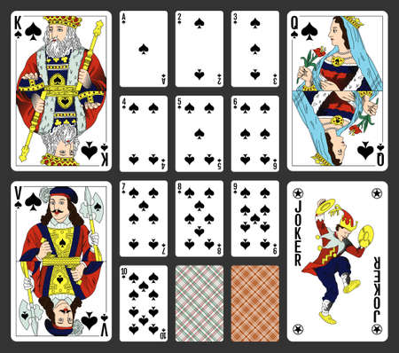 Spades suite design for a pack of traditional style playing cards Illustration