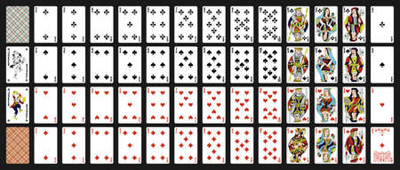 52 Russian playing cards with jokers. Poker set with isolated cards on black background. Poker playing cards, full deck.