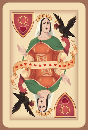 Classic playing card queen spades.