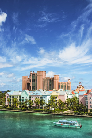 Beautiful scene of colorful houses and a hotel in Nassau, Bahamas on a summer sunny day