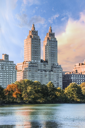 New York City the Eldorado apartments near Central Park with beautiful view of nature and lake on a sunny summer day