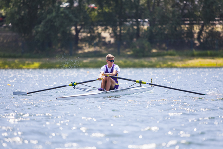 Belgrade, Serbia - May 2, 2018; Athletes on a Serbian Cup Rowing Competition rowing Editorial